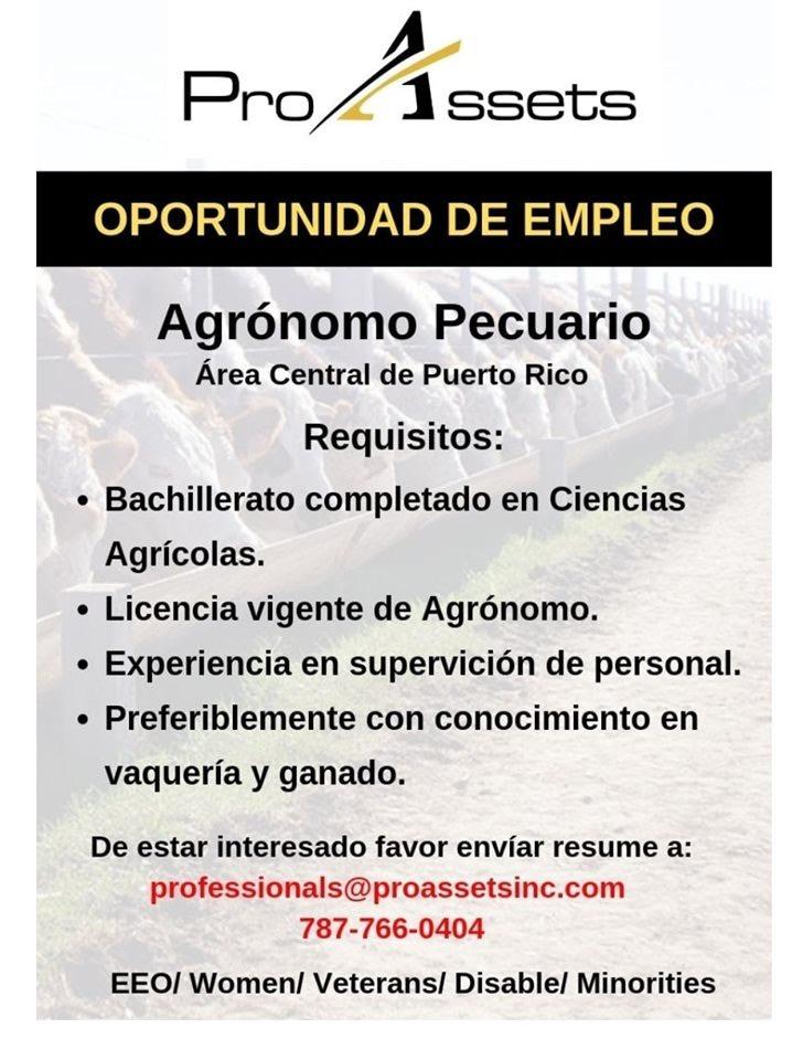 Empleo: Se busca Agrónomo Pecuario (Area Central)